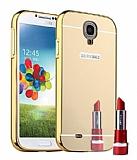 Eiroo Mirror Samsung i9500 Galaxy S4 Metal Kenarlı Aynalı Gold Rubber Kılıf