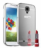 Eiroo Mirror Samsung i9500 Galaxy S4 Metal Kenarlı Aynalı Silver Rubber Kılıf