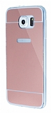 Eiroo Mirror Samsung i9800 Galaxy S6 Silikon Kenarlı Aynalı Rose Gold Rubber Kılıf