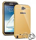 Eiroo Mirror Samsung N7100 Galaxy Note 2 Metal Kenarlı Aynalı Gold Rubber Kılıf