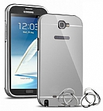Eiroo Mirror Samsung N7100 Galaxy Note 2 Metal Kenarlı Aynalı Silver Rubber Kılıf