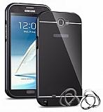 Eiroo Mirror Samsung N7100 Galaxy Note 2 Metal Kenarlı Aynalı Siyah Rubber Kılıf