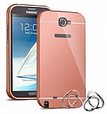Eiroo Mirror Samsung N7100 Galaxy Note 2 Metal Kenarl� Aynal� Rose Gold Rubber K�l�f