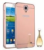 Eiroo Mirror Samsung N7500 Galaxy Note 3 Neo Metal Kenarlı Aynalı Rose Gold Rubber Kılıf