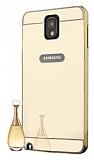 Eiroo Mirror Samsung N9000 Galaxy Note 3 Metal Kenarlı Aynalı Gold Rubber Kılıf
