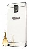 Eiroo Mirror Samsung N9000 Galaxy Note 3 Metal Kenarlı Aynalı Silver Rubber Kılıf