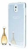Eiroo Mirror Samsung N9000 Galaxy Note 3 Silikon Kenarl� Aynal� Silver Rubber K�l�f