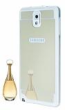 Eiroo Mirror Samsung N9000 Galaxy Note 3 Silikon Aynal� Kenarl� Gold Rubber K�l�f