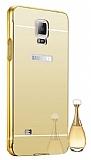 Eiroo Mirror Samsung N9100 Galaxy Note 4 Metal Kenarl� Aynal� Gold Rubber K�l�f