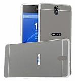 Eiroo Mirror Sony Xperia C5 Ultra Metal Kenarlı Aynalı Silver Rubber Kılıf