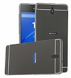 Eiroo Mirror Sony Xperia C5 Ultra Metal Kenarlı Aynalı Siyah Rubber Kılıf