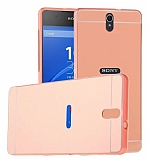 Eiroo Mirror Sony Xperia C5 Ultra Metal Kenarl� Aynal� Rose Gold Rubber K�l�f