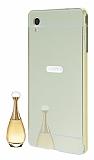 Eiroo Mirror Sony Xperia M4 Aqua Metal Kenarlı Aynalı Gold Rubber Kılıf