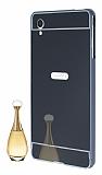 Eiroo Mirror Sony Xperia M4 Aqua Metal Kenarlı Aynalı Siyah Rubber Kılıf