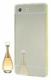 Eiroo Mirror Sony Xperia M5 Metal Kenarlı Aynalı Gold Rubber Kılıf