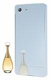 Eiroo Mirror Sony Xperia M5 Metal Kenarl� Aynal� Silver Rubber K�l�f