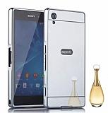 Eiroo Mirror Sony Xperia XA Metal Kenarlı Aynalı Silver Rubber Kılıf