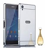 Eiroo Mirror Sony Xperia XA Ultra Metal Kenarlı Aynalı Silver Rubber Kılıf