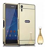 Eiroo Mirror Sony Xperia XZ Metal Kenarlı Aynalı Gold Rubber Kılıf