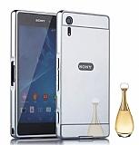 Eiroo Mirror Sony Xperia XZ Metal Kenarlı Aynalı Silver Rubber Kılıf