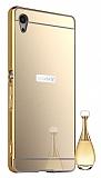 Eiroo Mirror Sony Xperia Z3 Metal Kenarlı Aynalı Gold Rubber Kılıf