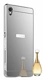 Eiroo Mirror Sony Xperia Z3 Metal Kenarlı Aynalı Silver Rubber Kılıf