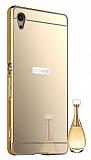 Eiroo Mirror Sony Xperia Z3 Plus Metal Kenarlı Aynalı Gold Rubber Kılıf