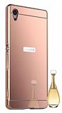 Eiroo Mirror Sony Xperia Z3 Plus Metal Kenarlı Aynalı Rose Gold Rubber Kılıf