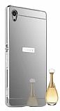 Eiroo Mirror Sony Xperia Z3 Plus Metal Kenarlı Aynalı Silver Rubber Kılıf