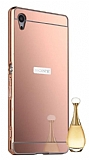 Eiroo Mirror Sony Xperia Z5 Metal Kenarl� Aynal� Rose Gold Rubber K�l�f