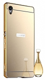 Eiroo Mirror Sony Xperia Z5 Metal Kenarlı Aynalı Gold Rubber Kılıf
