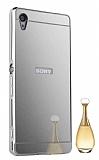 Eiroo Mirror Sony Xperia Z5 Premium Metal Kenarlı Aynalı Silver Rubber Kılıf