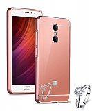 Eiroo Mirror Xiaomi Redmi Note 4 / Redmi Note 4X Metal Kenarlı Aynalı Rose Gold Rubber Kılıf