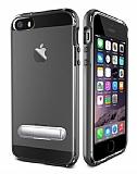 Eiroo Mixx Hybrid iPhone SE / 5 / 5S Standlı Siyah Silikon Kılıf