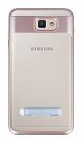 Eiroo Mixx Hybrid Samsung Galaxy J7 Prime Rose Gold Kenarlı Standlı Silikon Kılıf