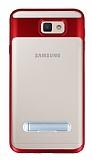 Eiroo Mixx Hybrid Samsung Galaxy J7 Prime / J7 Prime 2 Kırmızı Kenarlı Standlı Silikon Kılıf