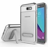 Eiroo Mixx Hybrid Samsung Galaxy J7 Prime / J7 Prime 2 Silver Kenarlı Standlı Silikon Kılıf