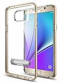 Eiroo Mixx Hybrid Samsung Galaxy Note 5 Gold Kenarlı Standlı Silikon Kılıf