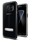 Eiroo Mixx Hybrid Samsung Galaxy S7 Edge Siyah Kenarlı Standlı Silikon Kılıf