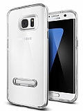 Eiroo Mixx Hybrid Samsung Galaxy S7 Edge Standlı Silver Silikon Kılıf