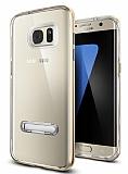 Eiroo Mixx Hybrid Samsung Galaxy S7 Edge Standlı Gold Silikon Kılıf