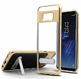 Eiroo Mixx Hybrid Samsung Galaxy S8 Plus Standlı Gold Silikon Kılıf