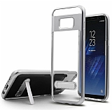 Eiroo Mixx Hybrid Samsung Galaxy S8 Plus Standlı Silver Silikon Kılıf