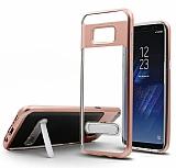 Eiroo Mixx Hybrid Samsung Galaxy S8 Plus Standlı Rose Gold Silikon Kılıf