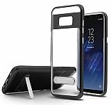 Eiroo Mixx Hybrid Samsung Galaxy S8 Siyah Kenarlı Standlı Silikon Kılıf