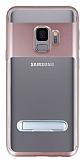 Eiroo Mixx Hybrid Samsung Galaxy S9 Rose Gold Kenarlı Standlı Silikon Kılıf