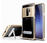 Eiroo Mixx Hybrid Samsung Galaxy S9 Plus Gold Kenarlı Standlı Silikon Kılıf