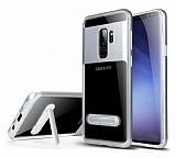 Eiroo Mixx Hybrid Samsung Galaxy S9 Plus Silver Kenarlı Standlı Silikon Kılıf