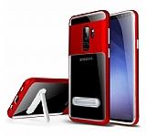 Eiroo Mixx Hybrid Samsung Galaxy S9 Plus Kırmızı Kenarlı Standlı Silikon Kılıf