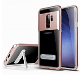 Eiroo Mixx Hybrid Samsung Galaxy S9 Plus Rose Gold Kenarlı Standlı Silikon Kılıf